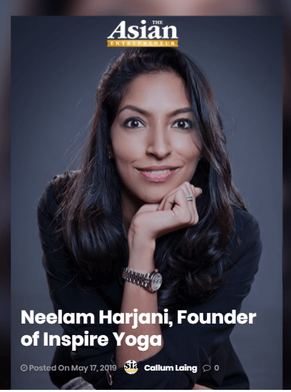 Founder of Inspire Yoga, Neelam Harjani featured by asianentrepreneur.org
